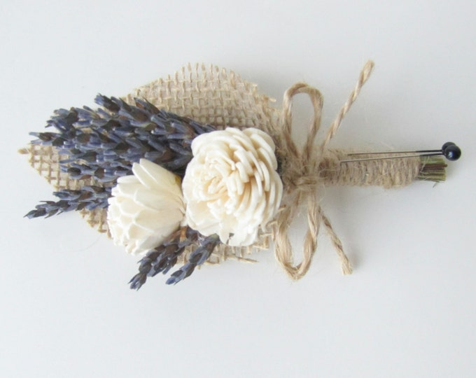 Lavender and White Sola Flower Boutonniere, Lavender Boutonniere, Rustic Boutonniere, Beach Feel Boutonniere, Burlap Boutonniere