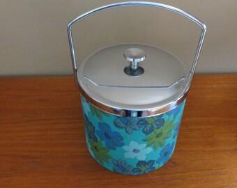 Vintage Mod Turquoise Flowered Ice Bucket