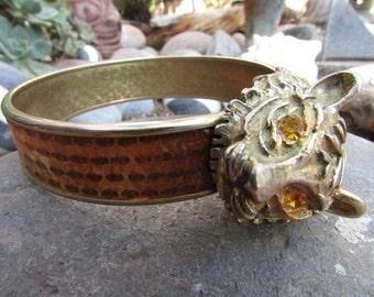 Vintage Jaguar Bracelet Rhinestone Eyes Hollywood Regency