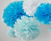 It's a Boy - 5 Tissue Paper Pom Poms - Fast Shipping -  for Baby Shower / Birthday Party / Wedding / Room Decoration