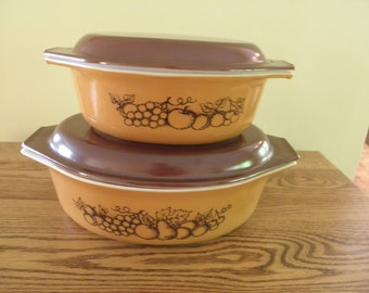 SALE Pyrex Old Orchard Pair of Casseroles