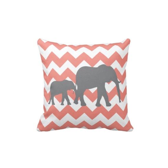 Grey Elephant Throw Pillow : Chevron Elephant Throw Pillow & Cover-Coral-Grey-White OR