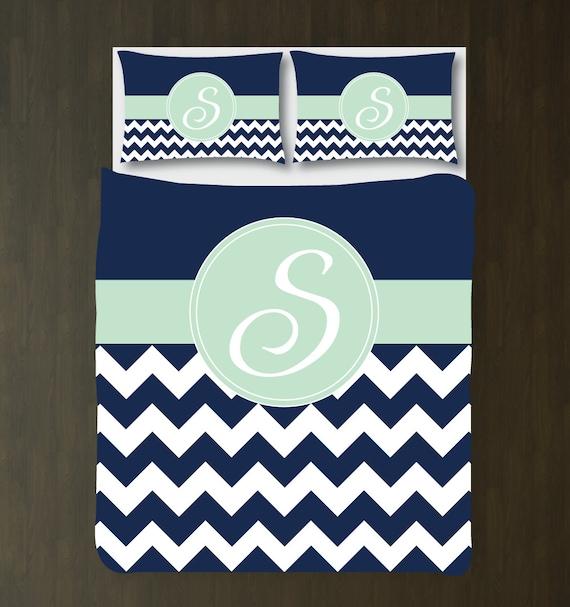 Navy Blue-Mint-White Chevron Duvet Cover Bedding  Navy Blue-Mint-...