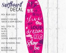 Surfboard Decal, Surfboard Decor, Wall Surfboard, Vinyl Surfboard, Berry & Navy Surfboard Art by Jennifer McCully