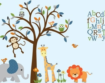 Boy Room Wall Decal, Safari Animal Wall Decal, Nursery Wall Decor, Jungle  Animal Part 59
