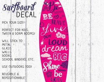 Surfboard Decal, Surfboard Decor, Wall Surfboard, Vinyl Surfboard, Berry & Navy Surfboard Art by Jennifer McCully