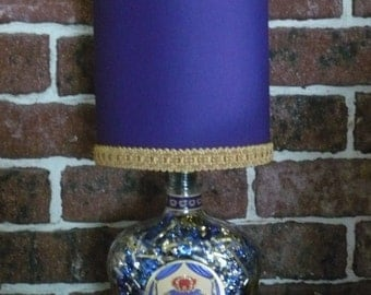Liquor Bottle Lamp, with handcrafted shade,made with recycled bottle