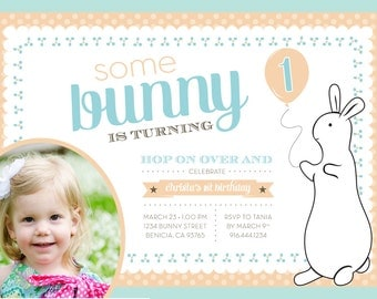 Pat The Bunny BIRTHDAY Invitation - PRINTABLE - Personalized