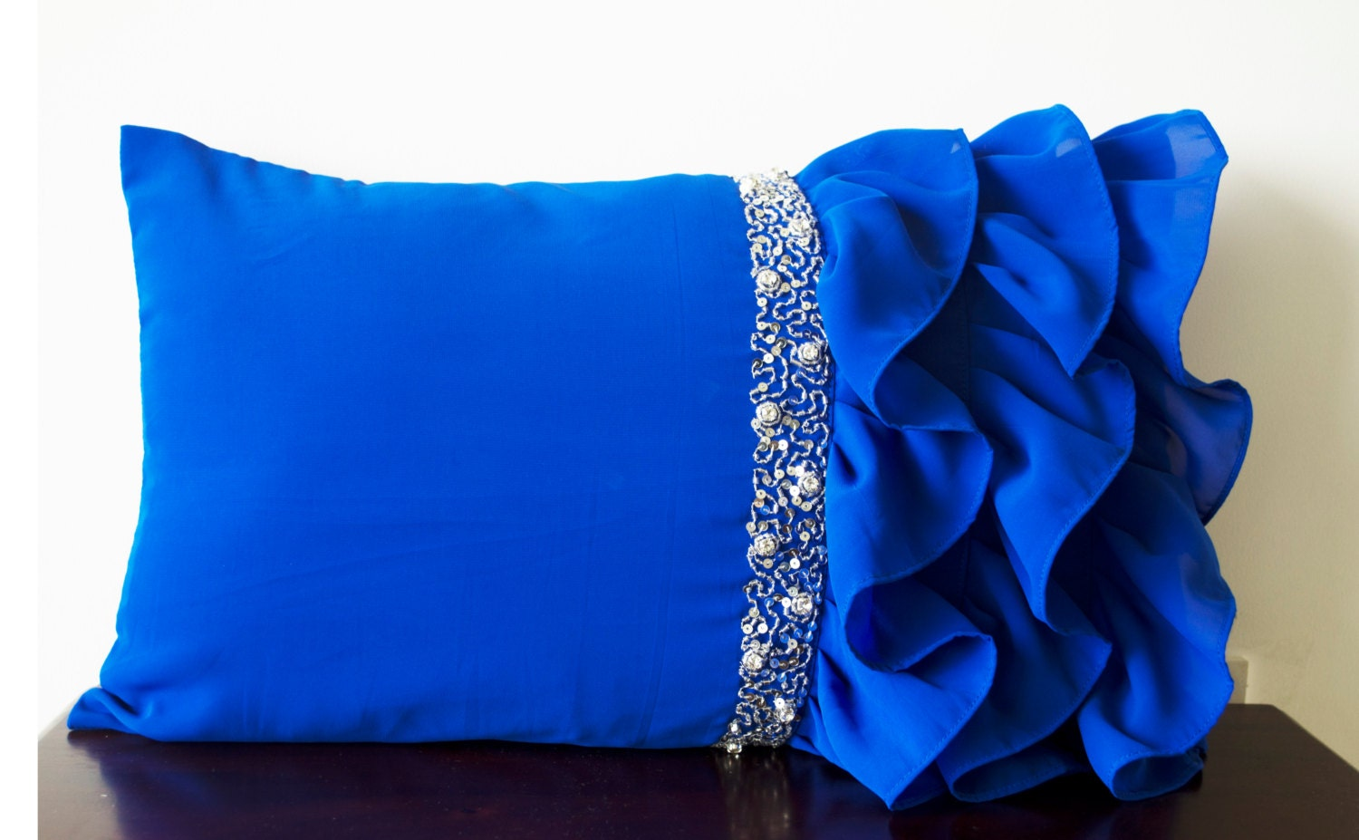 Royal Blue ruffled throw pillows Ruffle pillows 12x20 Blue