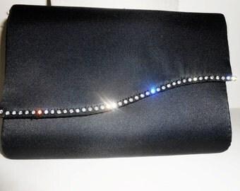 Black Evening Bag, Vintage Black Purse, Rhinestone Trim,Clutch Handbag, Hollywood Glamour, Black Clutch Bag EB-0450