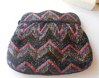 Beaded Evening Bag,Vintage Evening Bag, Black Evening Bag, Black Beaded Bag, Black Bead Clutch,  Colorful Bead Clutch,Beaded Handbag EB-0062