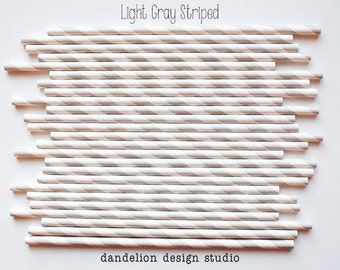 On Sale!!!!   LIGHT GRAY Striped Paper Straws - Pack of 25 - Dandelion Design Studio