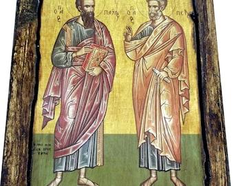 Saint St. Peter - Saint St. Paul - Orthodox Byzantine icon on wood handmade (22.5 cm x 17 cm)