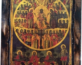 All Saints Divine Chorus - Orthodox Byzantine icon on wood handmade (22.5cm x 17cm)