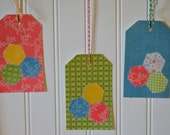 10 Hexagon Gift Tags Sewn Paper, Large Journal Tags, Pocket Scrapbook Tags, 3 x 4 Journal Tags