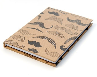 Handmade hardcover notebook journal sketchbook with moustache pattern A4