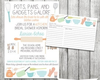 Pots, Pans, and Gadgets Galore Kitchen Shower Invite with Matching Recipe Card