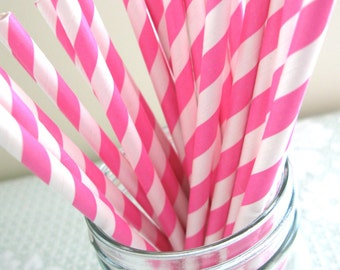 25 Bubblegum Pink Striped Paper Straws Paper Goods Party Straws
