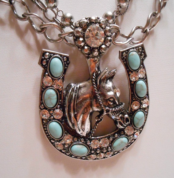 Large Western Turquoise & Rhinestone Stallion Horse Shoe Good Luck Necklace Earrings Set, Cowgirl Bling, Rodeo, southwestern, tribal