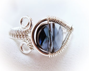 Adjustable wire wrapped ring, woven wire ring, sterling wire ring, custom ring, statement ring, crystal wire ring, bridesmaid ring