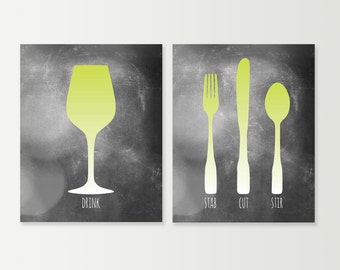 Dining Room Art - Fork Knife Spoon Wine Dining Room Wall Art - Kitchen Prints SET - Kitchen Signs - Kitchen Posters - Lime Green Gray Shown