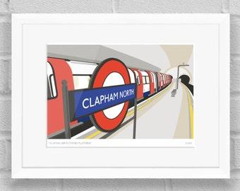 Clapham North Station Platform, London - Limited Edition Giclée Art Print / Poster