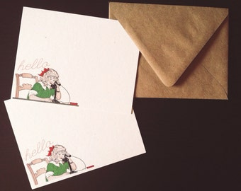 Hanging on the Telephone Notecards // Vintage Girl Drawing