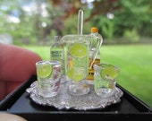 Dollhouse Miniature - Vodka and Tonic Set w/ Glass Pitcher & Stirrer w/ 2 Glasses on Round Tray - Great for a Bar or Pub