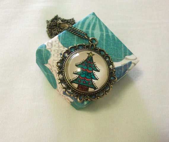 Christmas Tree Necklace, Hand drawn, Holidays