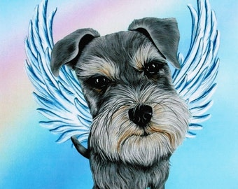 Schnauzer, Schnauzer Memorial, Schnauzer Angel, Schnauzer Art, Dog Angel, Schnauzers, Miniature Schnauzer, Pet Memorial, Pet Lover