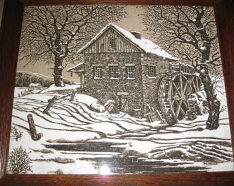 """FRAMED IN OAK-The Old Grist Mill On Fabric 15"""" X 17"""""""