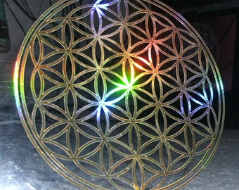 Flower of Life Rainbow Gold  13.5cm Decal