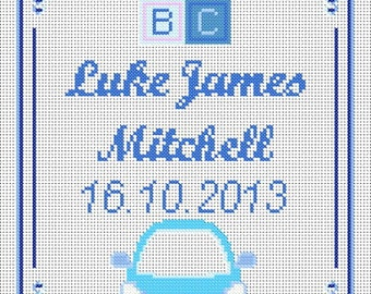 Baby Boy Sampler Style Cross Stitch Chart 14-Count