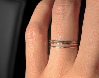 3 gold filled dainty teeny tiny stacking rings / Ultra thin stacking rings/ Everyday jewelry