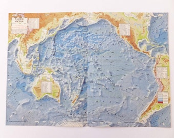 1956 Pacific Ocean map, vintage map of the pacific Ocean, old map