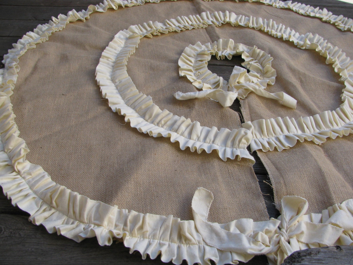 Burlap tree skirt with double cream or red ruffles christmas