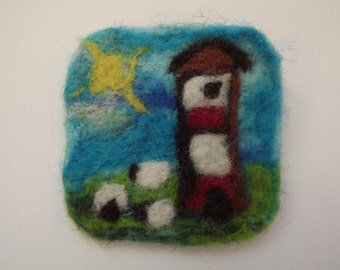Needle Felted Lighthouse and Sheep Brooch - Made to Order
