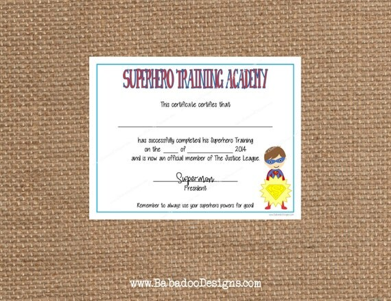 Superhero training certificate instant download full superhero training certificate instant download full service printing and personalization available yadclub Choice Image