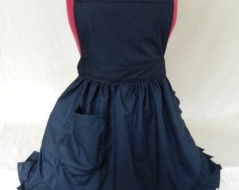 Retro Vintage 50s Style Full Apron / Pinny - Black