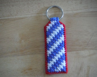Patriotic Zigzag Keychain, Plastic canvas, Car Accessories, Fourth Of July, Red White and Blue