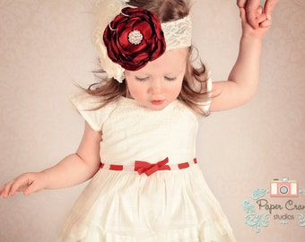 Childs Headband Red and Ivory Flowers Lace and Rhinestones