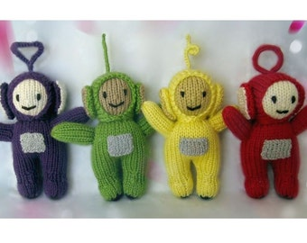 Teletubbies Knitting Pattern : Teletubbies. Knitted dolls. Soft toys. Warning: solid antennas, not for small...
