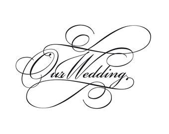 Script wedding invitation wording clip art in classic black and white, instant download.