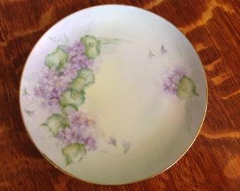 Violets Handpainted Porcelain Plate Vintage