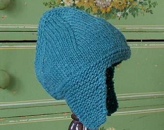 Earflap Hat Knit For Babies and Toddlers, Wool Winter Kids Hat, Green Knit Hat