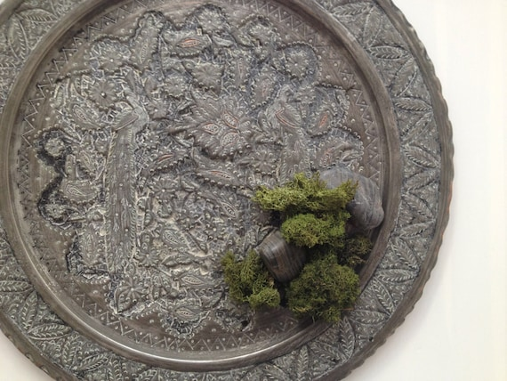 Decorative Wall Plates For Hanging: Vintage Wall Hammered Metal Hanging Plate By DreamyCottage
