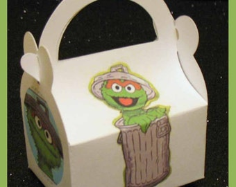 oscar the grouch favor box, oscar the grouch baby shower favor,oscar the grouch birthday favor box
