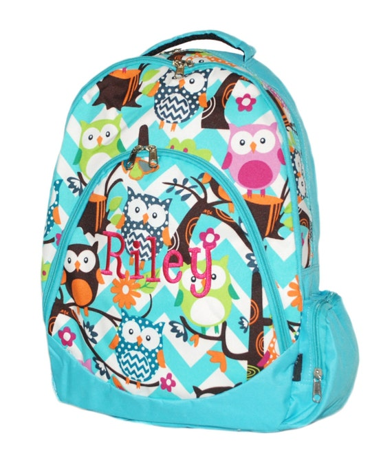 Chevron Owl Backpack,Owl School Backpack, Personalized Backpack, Owl ...
