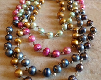 Freshwater Pearls Silver Necklace