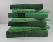 Shades of Green Vintage Book Decor Photo Props Table Setting Instant Library Collection - FineLineTreasures
